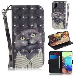 Cat Embrace 3D Painted Leather Wallet Phone Case for Samsung Galaxy A71 5G