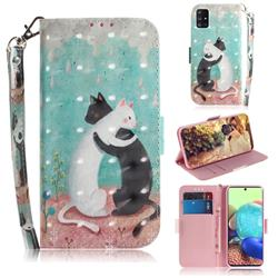 Black and White Cat 3D Painted Leather Wallet Phone Case for Samsung Galaxy A71 5G