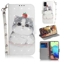 Cute Tomato Cat 3D Painted Leather Wallet Phone Case for Samsung Galaxy A71 5G