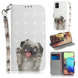 Pug Dog 3D Painted Leather Wallet Phone Case for Samsung Galaxy A71 5G