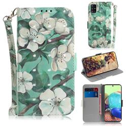 Watercolor Flower 3D Painted Leather Wallet Phone Case for Samsung Galaxy A71 5G