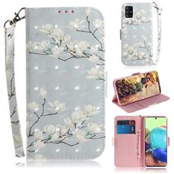 Magnolia Flower 3D Painted Leather Wallet Phone Case for Samsung Galaxy A71 5G
