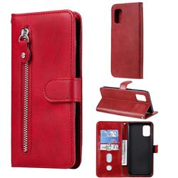 Retro Luxury Zipper Leather Phone Wallet Case for Samsung Galaxy A71 5G - Red