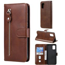 Retro Luxury Zipper Leather Phone Wallet Case for Samsung Galaxy A71 5G - Brown