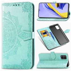 Embossing Imprint Mandala Flower Leather Wallet Case for Samsung Galaxy A71 5G - Green