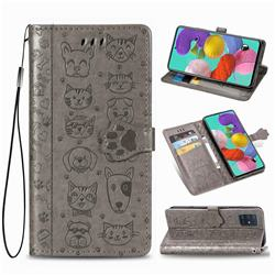 Embossing Dog Paw Kitten and Puppy Leather Wallet Case for Samsung Galaxy A71 5G - Gray