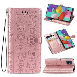 Embossing Dog Paw Kitten and Puppy Leather Wallet Case for Samsung Galaxy A71 5G - Rose Gold