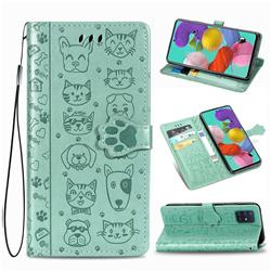 Embossing Dog Paw Kitten and Puppy Leather Wallet Case for Samsung Galaxy A71 5G - Green