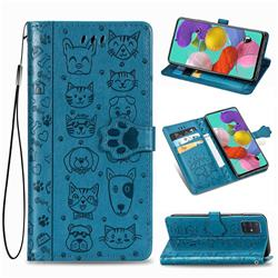 Embossing Dog Paw Kitten and Puppy Leather Wallet Case for Samsung Galaxy A71 5G - Blue