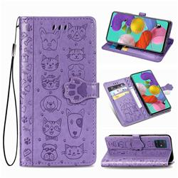 Embossing Dog Paw Kitten and Puppy Leather Wallet Case for Samsung Galaxy A71 5G - Purple