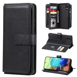 Multi-function Ten Card Slots and Photo Frame PU Leather Wallet Phone Case Cover for Samsung Galaxy A71 5G - Black