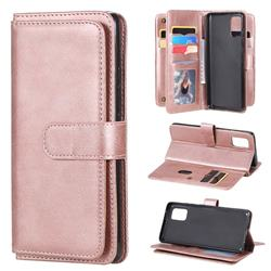 Multi-function Ten Card Slots and Photo Frame PU Leather Wallet Phone Case Cover for Samsung Galaxy A71 5G - Rose Gold