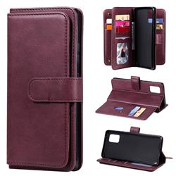 Multi-function Ten Card Slots and Photo Frame PU Leather Wallet Phone Case Cover for Samsung Galaxy A71 5G - Claret
