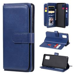 Multi-function Ten Card Slots and Photo Frame PU Leather Wallet Phone Case Cover for Samsung Galaxy A71 5G - Dark Blue
