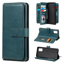 Multi-function Ten Card Slots and Photo Frame PU Leather Wallet Phone Case Cover for Samsung Galaxy A71 5G - Dark Green