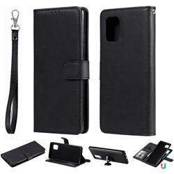 Retro Greek Detachable Magnetic PU Leather Wallet Phone Case for Samsung Galaxy A71 5G - Black