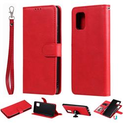 Retro Greek Detachable Magnetic PU Leather Wallet Phone Case for Samsung Galaxy A71 5G - Red