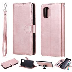 Retro Greek Detachable Magnetic PU Leather Wallet Phone Case for Samsung Galaxy A71 5G - Rose Gold