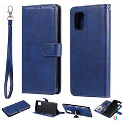 Retro Greek Detachable Magnetic PU Leather Wallet Phone Case for Samsung Galaxy A71 5G - Blue