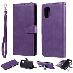 Retro Greek Detachable Magnetic PU Leather Wallet Phone Case for Samsung Galaxy A71 5G - Purple