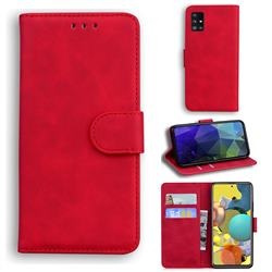 Retro Classic Skin Feel Leather Wallet Phone Case for Samsung Galaxy A71 5G - Red