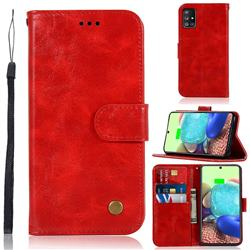 Luxury Retro Leather Wallet Case for Samsung Galaxy A71 5G - Red