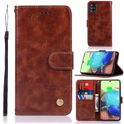 Luxury Retro Leather Wallet Case for Samsung Galaxy A71 5G - Brown