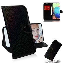 Laser Circle Shining Leather Wallet Phone Case for Samsung Galaxy A71 5G - Black