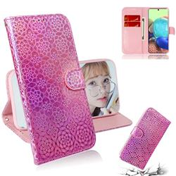 Laser Circle Shining Leather Wallet Phone Case for Samsung Galaxy A71 5G - Pink