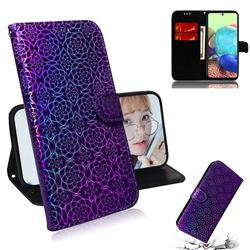 Laser Circle Shining Leather Wallet Phone Case for Samsung Galaxy A71 5G - Purple