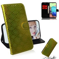 Laser Circle Shining Leather Wallet Phone Case for Samsung Galaxy A71 5G - Golden
