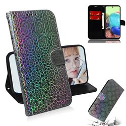 Laser Circle Shining Leather Wallet Phone Case for Samsung Galaxy A71 5G - Silver