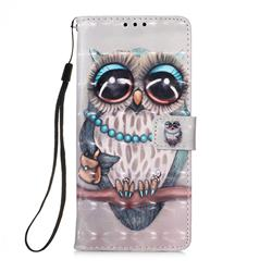Sweet Gray Owl 3D Painted Leather Wallet Case for Samsung Galaxy A71 5G