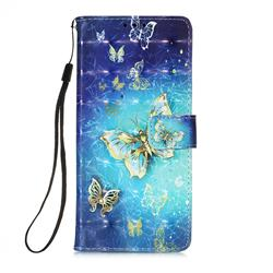 Gold Butterfly 3D Painted Leather Wallet Case for Samsung Galaxy A71 5G