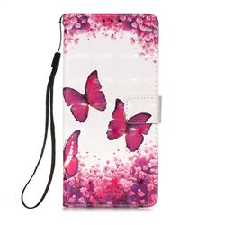 Rose Butterfly 3D Painted Leather Wallet Case for Samsung Galaxy A71 5G