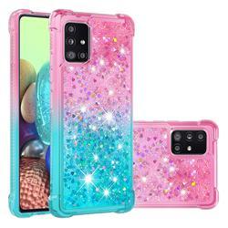 Rainbow Gradient Liquid Glitter Quicksand Sequins Phone Case for Samsung Galaxy A71 5G - Pink Blue