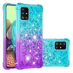 Rainbow Gradient Liquid Glitter Quicksand Sequins Phone Case for Samsung Galaxy A71 5G - Blue Purple