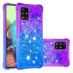 Rainbow Gradient Liquid Glitter Quicksand Sequins Phone Case for Samsung Galaxy A71 5G - Purple Blue