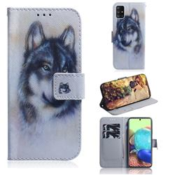 Snow Wolf PU Leather Wallet Case for Samsung Galaxy A71 5G