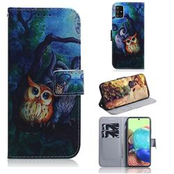 Oil Painting Owl PU Leather Wallet Case for Samsung Galaxy A71 5G