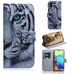 White Tiger PU Leather Wallet Case for Samsung Galaxy A71 5G