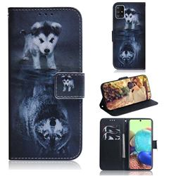 Wolf and Dog PU Leather Wallet Case for Samsung Galaxy A71 5G