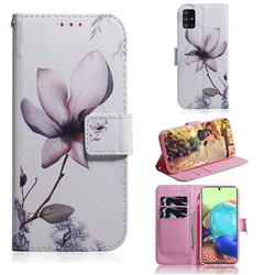 Magnolia Flower PU Leather Wallet Case for Samsung Galaxy A71 5G