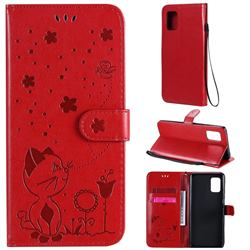 Embossing Bee and Cat Leather Wallet Case for Samsung Galaxy A71 5G - Red