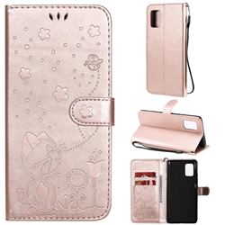 Embossing Bee and Cat Leather Wallet Case for Samsung Galaxy A71 5G - Rose Gold