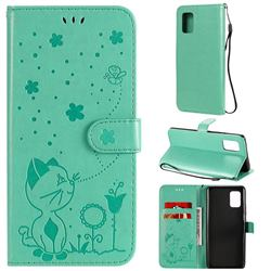 Embossing Bee and Cat Leather Wallet Case for Samsung Galaxy A71 5G - Green