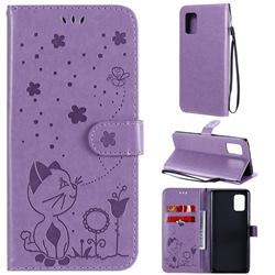 Embossing Bee and Cat Leather Wallet Case for Samsung Galaxy A71 5G - Purple