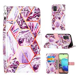Dream Purple Stitching Color Marble Leather Wallet Case for Samsung Galaxy A71 5G