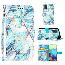 Lake Blue Stitching Color Marble Leather Wallet Case for Samsung Galaxy A71 5G