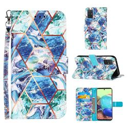 Green and Blue Stitching Color Marble Leather Wallet Case for Samsung Galaxy A71 5G